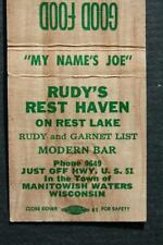 1940-50s Era Manitowish Waters,Wisconsin Rudy's Rest Haven Bar-Tavern matchbook!