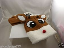 Rudolph red nosed reindeer beanie cap hat and text gloves winter garb cute