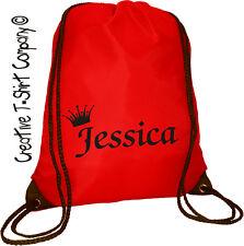 RED PERSONALISED PRINCESS BIRTHDAY SCHOOL BAG, PE, GYM, BOOK BAG Back To School