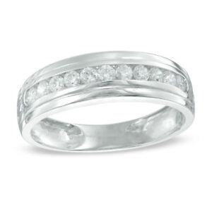 1. Carat Men's White Gold Over Diamond Wedding Pinky Band Ring