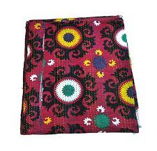 queen kantha quilt in suzani pattern indian kantha bedspread blanket queen throw