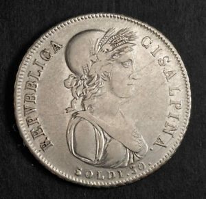 1801, Italian States, Cisalpine Republic. Silver 30 Soldi Coin. 1-Year Type!