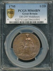 1795 Great Britain Middlesex DH-295 Half Penny Conder Token PCGS MS 64 BN