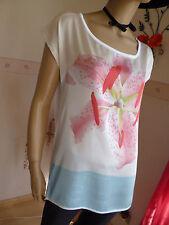 Satin Bluse-Shirt im Materialmix in Bund mit Tolle Orchideen frontprint Gr.36-38