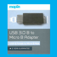 Maplin USB 3.0 B Female To Micro B Adapter Male Good For Tablets and Mobiles