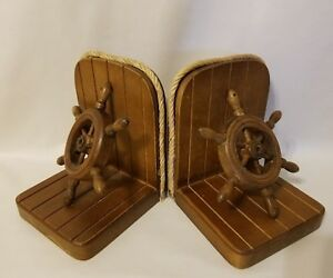 Vintage Mid-Century Nautical Ship's Wheel Pair Set of Bookends Wood Panel Rope