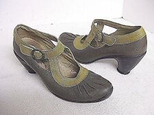 FLY LONDON Brown Pleat-Tip Mary Jane's Low Heel Buckle Shoes Size 38  (7.5-8)