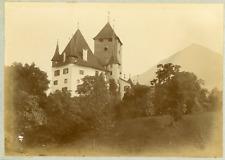 Suisse, Alpes bernoises, Château de Spiez, ca.1900, vintage citrate print Vintag