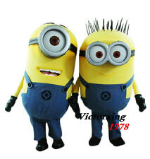 High Quality A Pair of Minion Mascot Costume  Halloween Dress Free Shipping