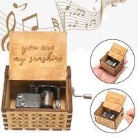 """""""You Are My Sunshine"""" Retro Carillon manuale incise in legno da regalo Music Box"""