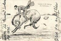 RARE VINTAGE COMIC STUART ALLAN HORSE RACING POSTCARD - to GOONDIWINDI