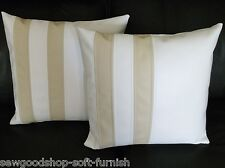 "2 White & Cream Twin Stripe Faux Leather Cushion Covers 16"" 18"" 20"""
