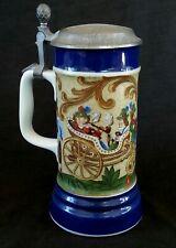 Antique German hand painted lidded porcelain beer stein bierkrug