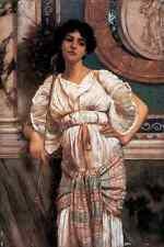 John William Godward Classical Beauty with Peacock Fan A4 Photo Print