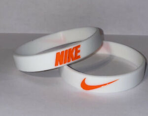 Nike Baller Band Silicone Rubber Bracelet White Orange Series AF1 RARE