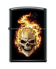 Zippo 6114 flaming skull black matte finish full size Lighter