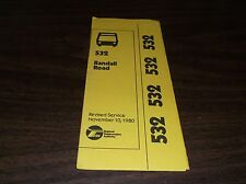 November 1980 Chicago Rta Route 532 Randall Road Bus Schedule