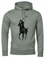 Polo Ralph Lauren Men's Sz M Double-Knit Big Pony Graphic Logo Hoodie Gray