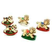 Vintage Plastic Resin Rocking Horses Christmas Tree Ornaments Candle Holders Lot