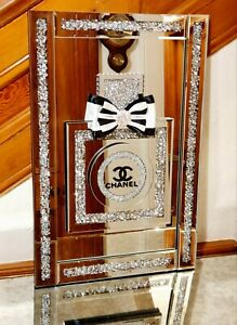 Sparkling Large Perfume Bottle Crushed Crystal  Wall Mirror