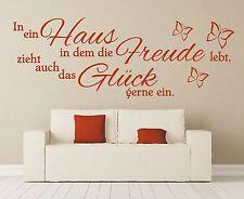 Wandtattoo Spruch In ein Haus Glück Freude Wandsticker Wandaufkleber Sticker 2