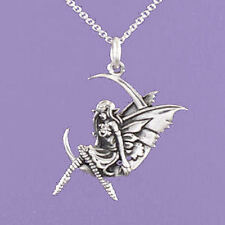 """925 Sterling Silver """"Fairy sitting on a Crescent Moon"""" 18""""/20"""" Pendant  A128"""