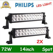 "2X 14"" Inch 72W PHILIPS Led Light Bar Spot Driving Suv Jeep Tractor Boat 12V24V"