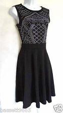 50'S 60'S BLACK VINTAGE ROCKABILLY RETRO ART DECO STYLE DRESS SIZE 10/12