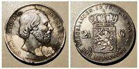 1870 Netherlands 2 1/2 Gulden Silver Coin, Rare shipwreck wow grade