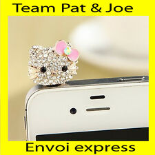 BIJOU CACHE POUSSIERE telephone portable pour PRISE JACK style chat noeud rose