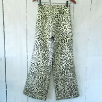 Revolve LPA Pants XS Leopard Metallic High Rise Wide Leg Palazzo Side Zip
