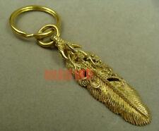 Men's Brass Feather Skull Skeleton Claw Metal Gold Keychain Key Ring Pendant DIY