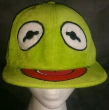 THE MUPPETS JIM HENSON KERMIT THE FROG SILLY FACE FUZZY GREEN FITTED HAT 22""
