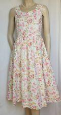 Laura Ashley Sommerkleid 40 Blumen Baumwolle weiß rosa grün vintage Kleid