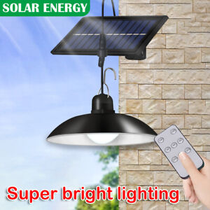 LED Solar Panel Shed Lights Indoor Outdoor Hanging Lamp Yard Garden with Remote