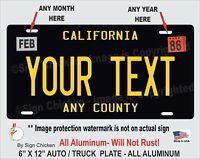 California Black CUSTOM TEXT  Personalized vanity License Plate AUTO, SOCAL