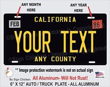 California Black YOUR TEXT  Personalized Custom  Aluminum License Plate AUTO