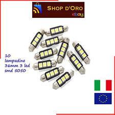 10 LAMPADINE SILURO 36mm 3 LED SMD 5050 NON DA ERRORE LUCI AUTO TARGA C5W