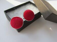 Handmade Stylish Red Corduroy Fabric Inlay Mens Cufflinks Gift Box Many Colours