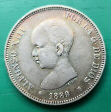More details for 1889 spain 5 pesetas silver coin alfonso 13th   #177