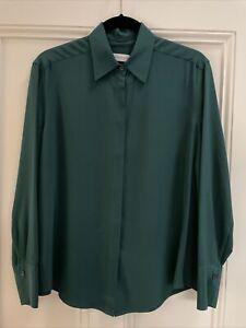 Scanlan Theodore Emerald Green Silk Shirt, Size 8