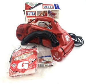 Vintage 1997 Dirt Devil Ultra Hand Vacuum With Extra Belts and Bags 08230 Red