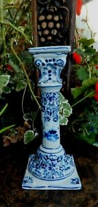 Antique Blue White Tall Pottery Candle stick Windmill  Image Delft VR Mark