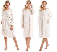 Ladies Lady Olga Floral Long Sleeve Jersey Cotton Nightie Nightdress Size 10-34