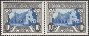 South Africa 1944 KGVI Groot Constantia 10sh Blue + Charc Pair Mint SG64ca c£45