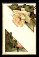 Flower Studies Rose Tuck #6873 Art Nouveau style embossed PPC