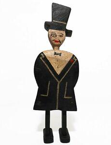 RARE EARLY 20TH C VINT AMERICAN FOLK/TRAMP ART MAN, W/TOP HAT CARVED WOOD FIGURE