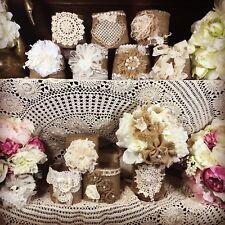 15  Shabby Decorations, Burlap and Lace Mason Jar Sleeves, Rustic Wedding