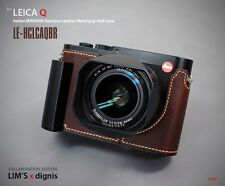 LIM'S Genuine Leather Camera Metal Grip Half Case for Leica Q Typ 116 Brown