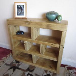 3-tier Shoe Rack / Side Board / Bookcase - Handmade Rustic Chunky Solid Wood